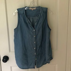 Loft chambray button down sleeveless top - size s